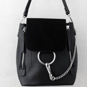 Lulus black leather backpack/bag - brand new